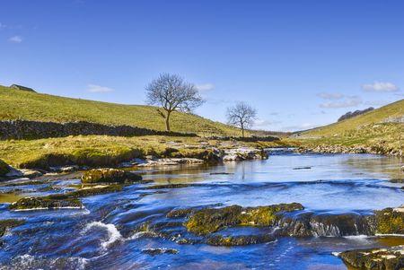 Scenic widok rzeki Wharfe, Wharfedale doliny, Park Narodowy Yorkshire Dales, Anglia