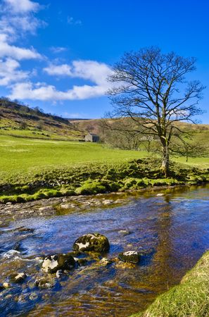 wharfedale: Scenic view of river Wharfe, Wharfedale Valley, Yorkshire Dales National Park, England. Stock Photo