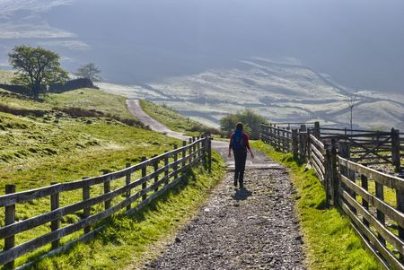 Rear view of female hiker walking on pathway in Lake District National Park, Cumbria, England.