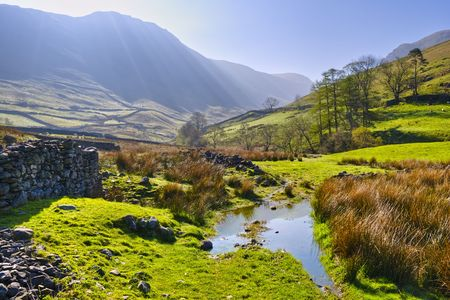 english countryside: Landscape morning view of English Lake District National Park near Hartsop, Cumbria, England, United Kingdom.