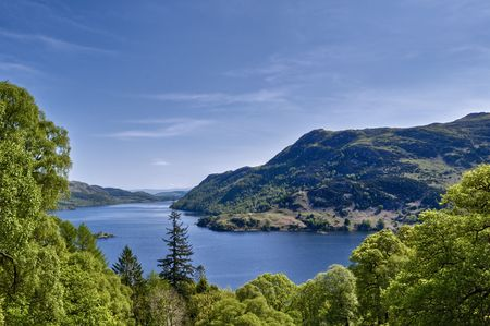 View of the Ullswater in the English Lake district from Glenridding Dodd.