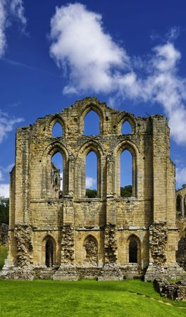 Exterior view of Rievaulx Abbey under cloudscape, North Yorkshire, England. Stock Photo - 5529193