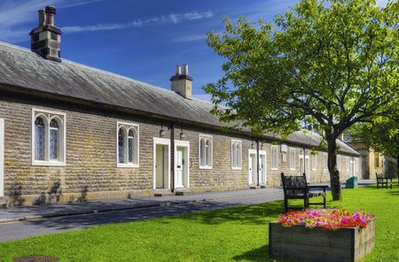 Row of old almshouses, Thornton Le Dale village, Ryedale, North Yorkshire, England. Stock Photo - 5564172