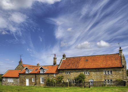 Houses and buildings in the village of Goathland, England. Stock Photo