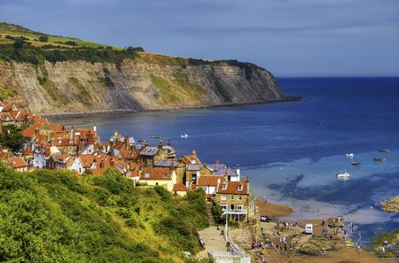 Aerial view of Robin Hoods Bay village, North Yorkshire, England. Stock Photo