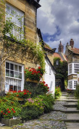 Charming village homes in Robin Hoods Bay in North Yorkshire, England Stock Photo