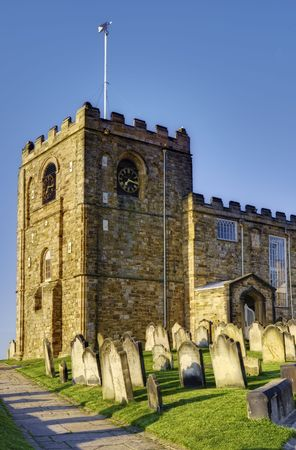 Exterior of Saint Marys church with graveyard in foreground, Whitby town, North Yorkshire, England Stock Photo - 5755503