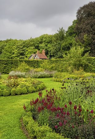 Details of a beautiful ornamental, landscaped English garden