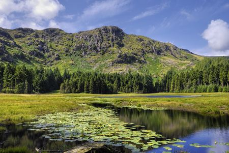 Landscape of Harrop Tarn in the Lake District, England.