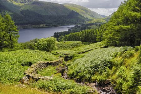 Scenic view of  Ullswater lake with track in foreground, Lake District National Park, Cumbria, England Stock Photo - 5972421