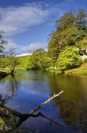 wharfedale: Scenic view of river Wharfe, Yorkshire Dales National Park, England. Stock Photo
