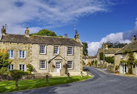 Scenic view of Burnsall village, Craven, North Yorkshire, England.