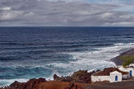 golfo: Scenic view of volcanic coastline, El Golfo, Lanzarote, Canary Islands, Spain.