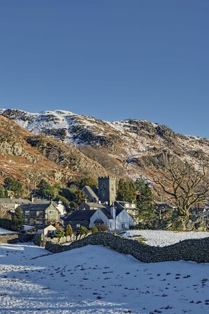 Scenic view of village of Chapel Stile in Winter, South Lakeland, Cumbria, England. Stock Photo - 6618018