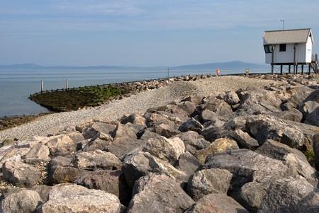Scenic view of rocky sea defences, Morecambe, Lancashire, England,