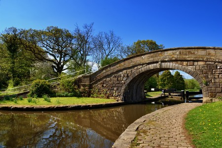 Bridge No 1 at the entrance to the Glasson branch of the Lancaster Canal, Lancashire, England