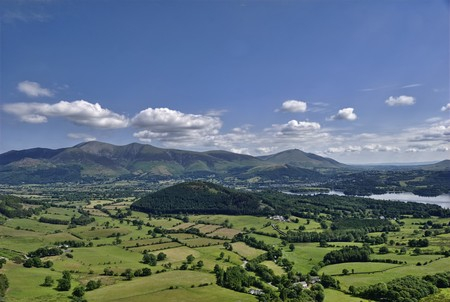 A distant view of Skiddaw & Blencathra from the slopes of Causey Pike