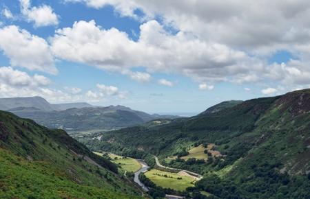 An aerial view of the Afon Mawddach and Estuary viewed from the Precipice Walk near Dolgellau, Gwynnedd, North Wales Stock Photo