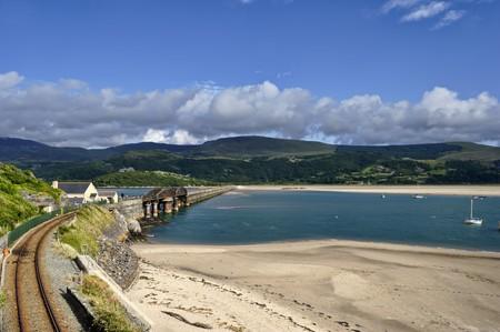 Barmouth Bridge over the Mawddach Estuary, Gwinedd, Noth Wales Stock Photo