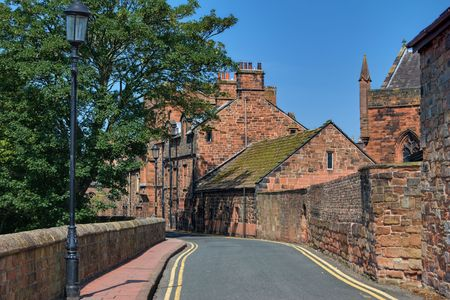 A view along the West Walls, near Carlisle Cathedral, Cumbria, England