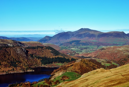 A high angle view of Skiddaw and Thirlmere from the flanks of Helvellyn Stock Photo
