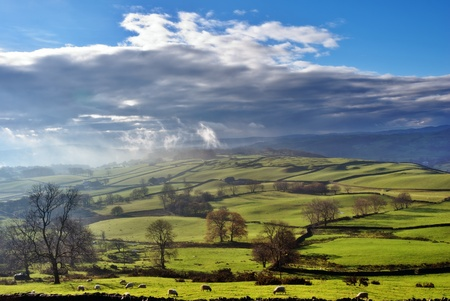 the lake district: Rolling English Countryside near Staveley in the English Lake District
