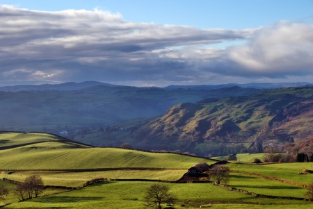 Reston Scar and rolling English Countryside near Staveley in the English Lake District photo