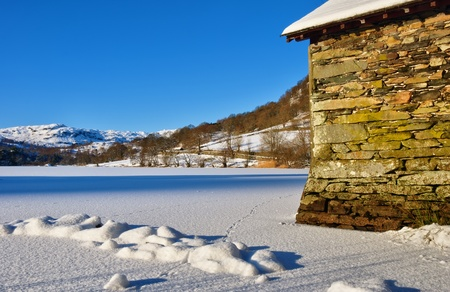 A Boathouse on frozen Rydal Water Stock Photo - 8781005