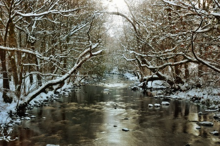 A scenic view of the River Rothay at White Moss in Winter. The English Lake District National Park