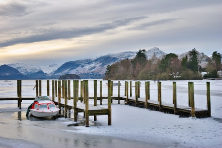 Scenic view of jetty on frozen lake Derwent Water, Lake District National Park, Cumbria, England. photo