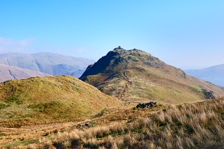 the crag: Scenic view of Helm Crag in the Lake District National Park, Cumbria, England.