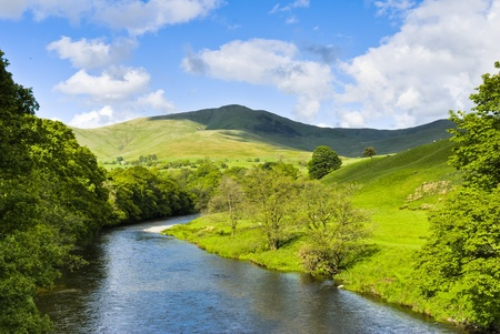 Scenic view of the River Lune with the Howgill hills in the background. Lowgill, Cumbria, England. Stock Photo