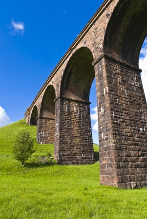 An low angled view of lowgill viaduct, on the Dales Way, Cumbria, England photo