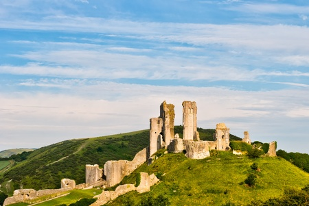 ramparts: The ruins of Corfe Castle, Dorset, England