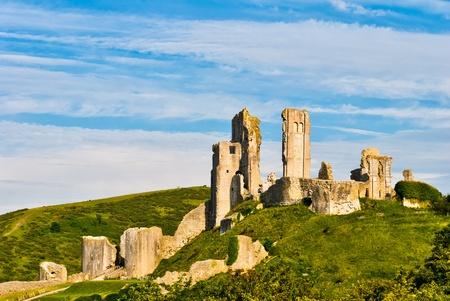 The ruins of Corfe Castle, Dorset, England