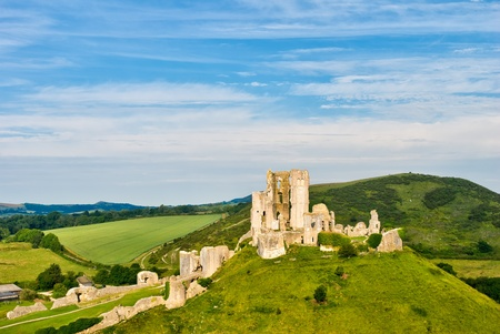 The ruins of Corfe Castle, Dorset, England