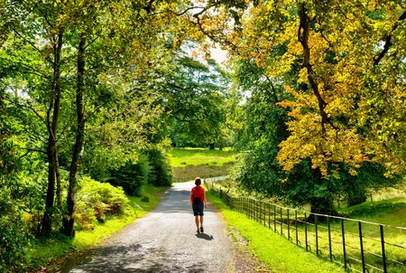 A female hiker walking on a lane through early Autumn woodland in England Stock Photo
