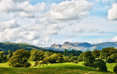 lake district england: The Langdale Pikes viewed across a rural, wooded, Lake District landscape