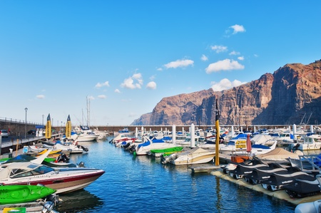 Los Gigantes harbour, a popular holiday destination Tenerife, in the Spanish Canary Islands