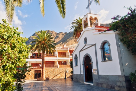 paved: The Square and church, Los Gigantes in the Spanish Canary Islands