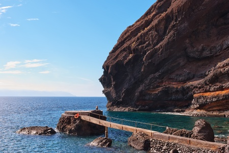 Playa de Masca, at the end of the popular Gorge walk. Tenerife, in the Canary islands Stock Photo