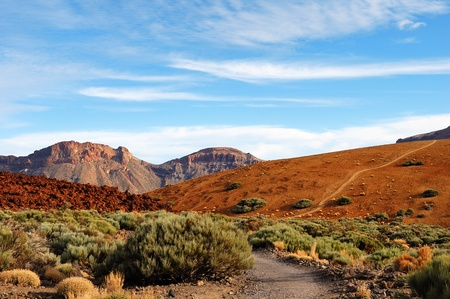Teide National Park, Tenerife, Spanish Canary Islands showing the weathered red volcanic soil closely esembling that on Mars which has resulted in this becoming a testing ground for Mars projects