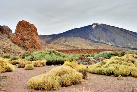 subsequent: Roques De Garcia, Teide National Park, Tenerife, part of the weathered remnants of the old summit before subsequent eruptions and magma flow raised the summit of the volcano to its present height.
