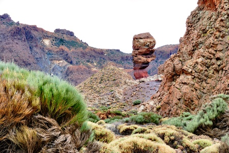 remnants: Roques Cinchardo, Teide National Park, Tenerife which forms part of the Roques de Garcia formed by weathered volcanic remnants of the ancient summit of the volcano.