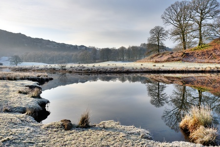 langdale: Early morning winter frost covering the lakeshore at Elterwater, Langdale, English Lake District