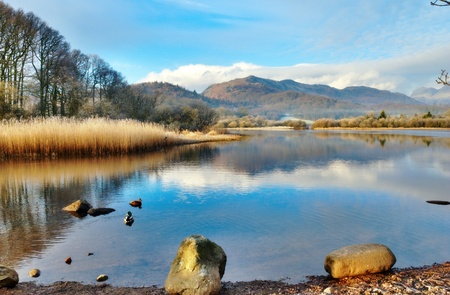 langdale: Picturesque Wetherlam Mountain reflected in the still waters of Elter Water Lake, Langdale, English Lake District