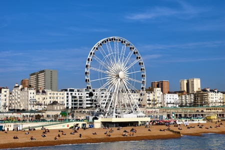 Ferris Wheel on the waterfront at Brighton, a popular resort town in Britain