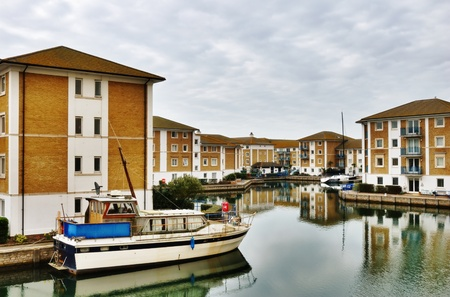 moorings: View into the artificial seafront residential marina development known as the Brighton Marina