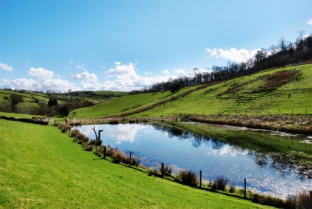 Tranquil pond in rolling English countryside surrounded by green pastures and reflecting the sunny sky photo