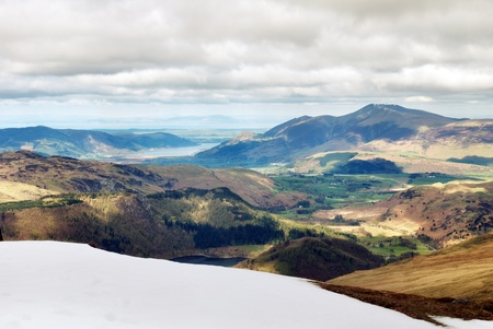 ranges: View from the summit of Helvellyn mountain towards the Skiddaw mountain range in the English Lake District Stock Photo
